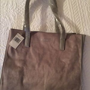NWT GUESS Tote suede, faux leather bag